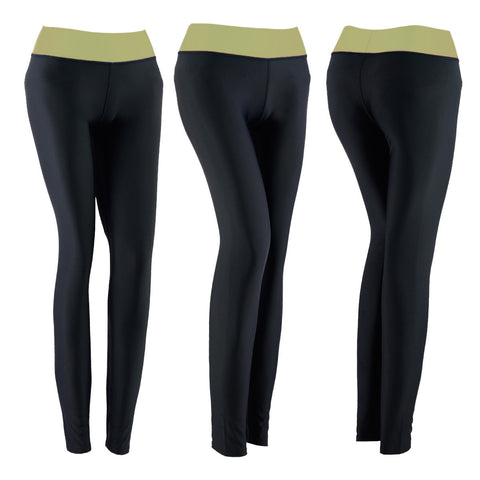 SPG Women YOGA Pants Gym Leggings Stretch Athletic Trousers Light Yellow - Scout Performance Gear