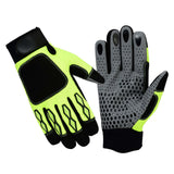 SPG Mechanics Gloves Safety Work Amara Leather Black Green - Bulk Only - Scout Performance Gear