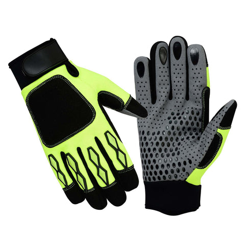 SPG Mechanics Gloves Safety Work Amara Leather Black Green - Scout Performance Gear