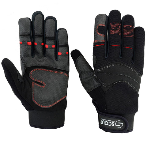 SPG Mechanics Gloves Safety Work Amara Leather Gardening Black Red - Bulk Only - Scout Performance Gear
