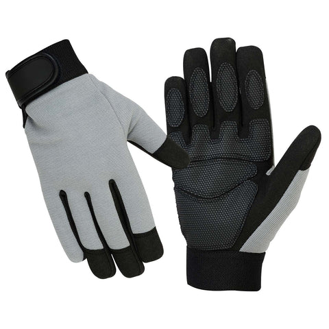 SPG Mechanics Gloves Safety Work Amara Leather Gardening Black Gray - Scout Performance Gear
