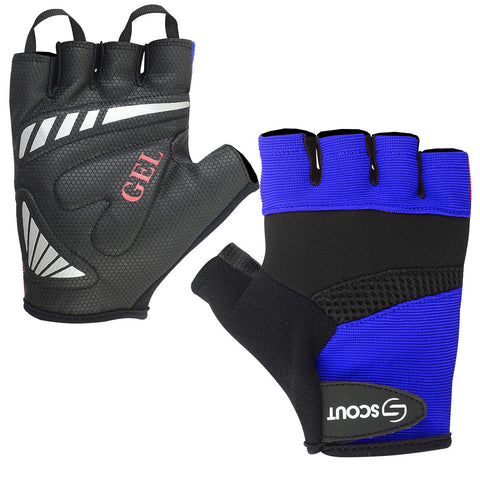 New SPG Cycling Gloves Gel Padding Half Finger Bicycle Racing Blue