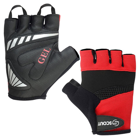 New SPG Cycling Gloves Gel Padding Half Finger Bicycle Racing Red Color - Scout Performance Gear