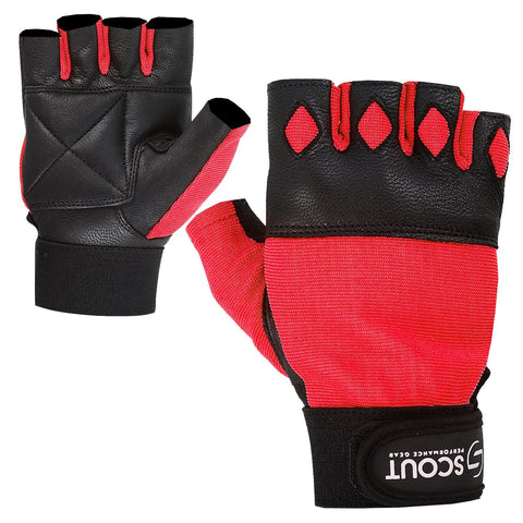 New SPG Men Weight Lifting Gloves for Cross-fit Gym Workout Red - Scout Performance Gear