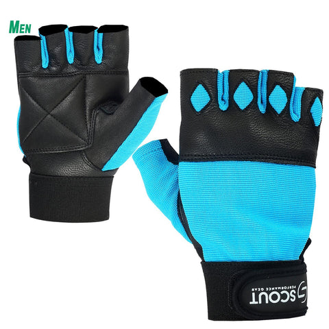 New SPG Men Weight Lifting Gloves for Cross-fit Gym Workout Sky Blue
