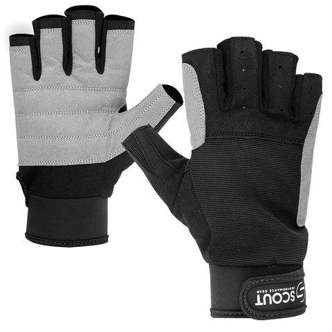 New Sailing Gloves Full Cut Finger Kayak Yachting WaterSki Sports Boating Glove Black Gray - Scout Performance Gear
