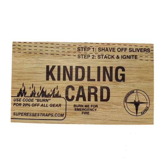 Kindling Card - Business Card Fire Tinder built on two-ply 100% Oak Wood