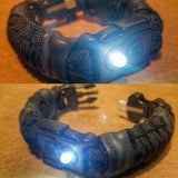EDC Prepper: Paracord Bracelet Urban Tool Kit Equipped w/ LED Light, fire starter, knife, compass.