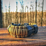 Camper Strap: Outdoor, Hike, Kayak- Survival Fire Starter Paracord Bracelet- tinder, hunting tools, & more.