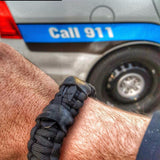 First Responder Strap - Police LEO backup duty gear w/ light, cuff key, seatbelt cutter, compass.