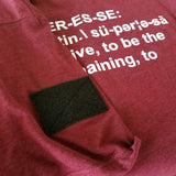 Superesse Tshirt - Lightweight, TriBlend, Velcro patch Sleeve, with Logo.