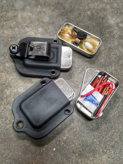 EDC Pocket Tin: Emergency Metal Can in Kydex Sheath available in multiple Survival and Tactical Kit Loadouts.