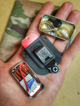 EDC Pocket Tin: Emergency Metal Can, Kydex Sheath, with Survival & Tactical Kits.