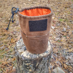 Bucketed Bag - Fire Starter Draw String Pouch Otterwaxed Canvas Outer & Signal Panel Orange Ripstop