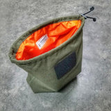 Carryall - Canvas or Ripstop Bag with Drawstring Survival Cord Closure and Patch Panel.