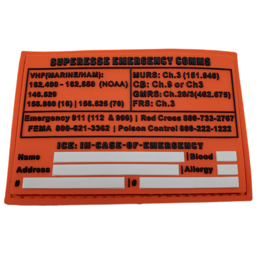 Storage Pocket Patch:  Emergency Comms with Radio Frequency/Channel and Telephone Contact Numbers, ICE Card
