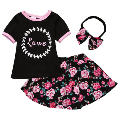 Adorable Floral Summer Outfit 3Pcs