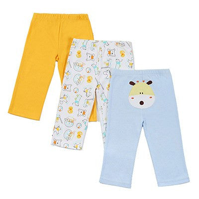 Colorful Elastic Waist Pants Set 3Pcs