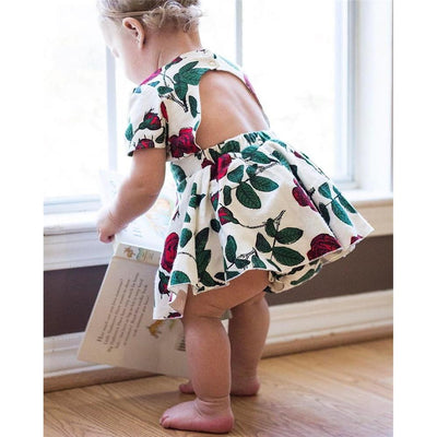 Lovely Backless Floral Dress & Bloomers