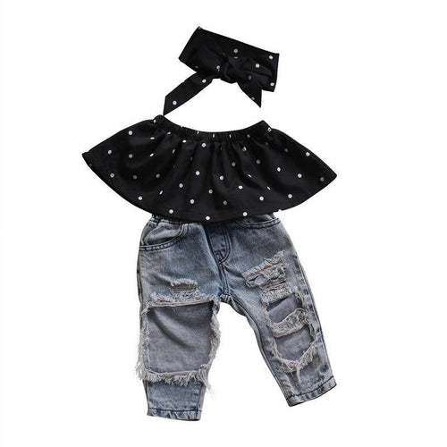 Lovely Polka Dot Outfit 3Pcs