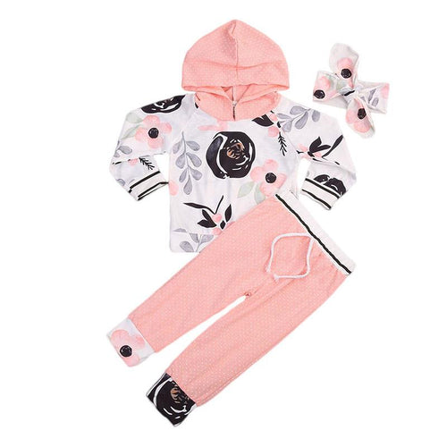 Warm & Delicate Pink Hooded Floral Set