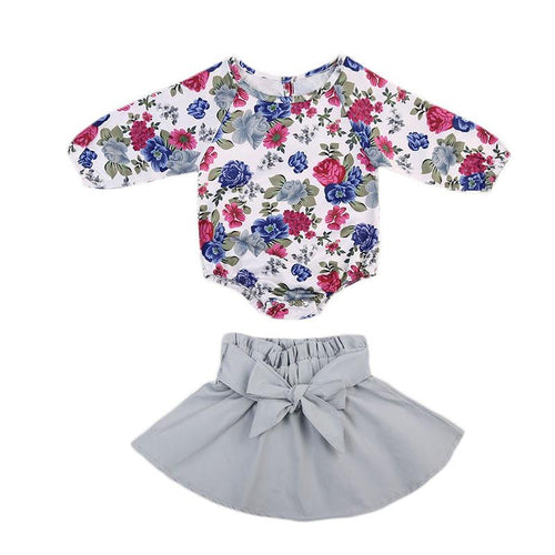 Cute Floral Long Sleeve Romper & Skirt
