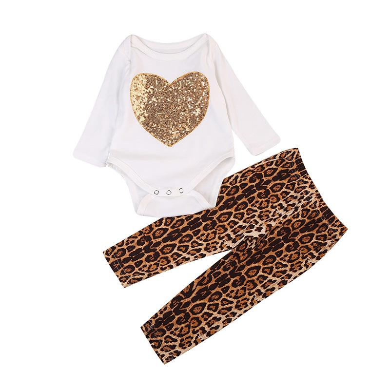 Fashion Leopard Pants & Heart Romper Set