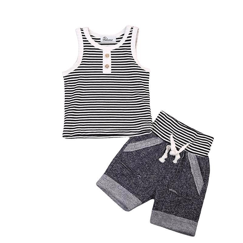 Casual Striped Sleeveless Set