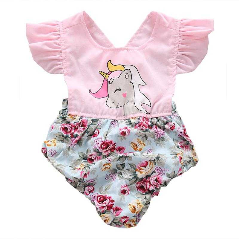 Sweet Floral Unicorn Romper