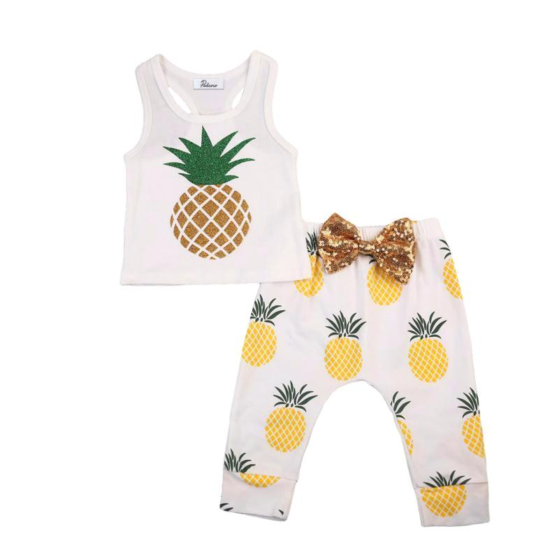 Cute Sleeveless Pineapple Set