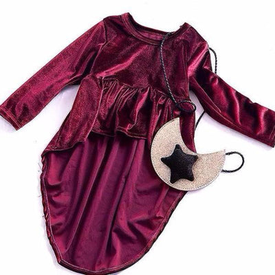 Elegant Retro Wine Red Dress