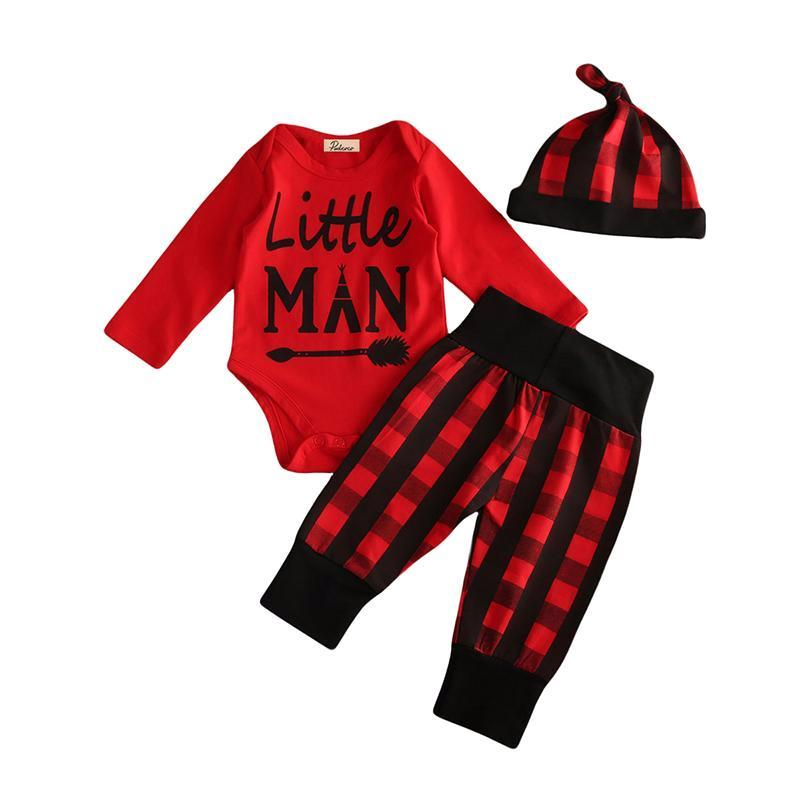 Plaid Little Man Set 3Pcs