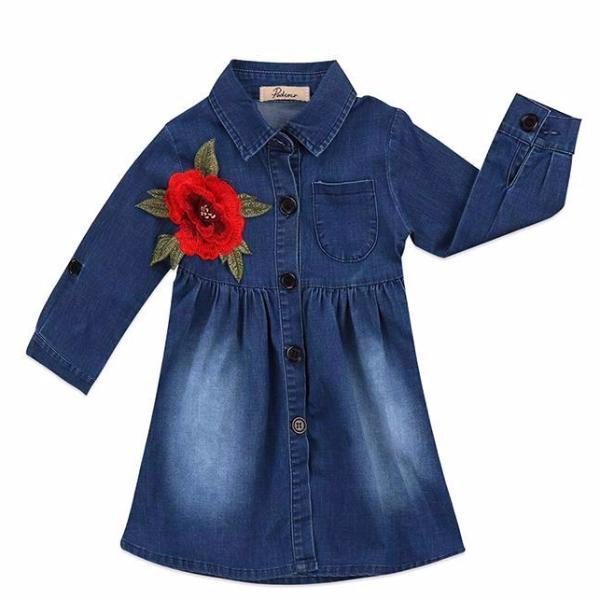 Cute Denim Rose Embroidery Dress