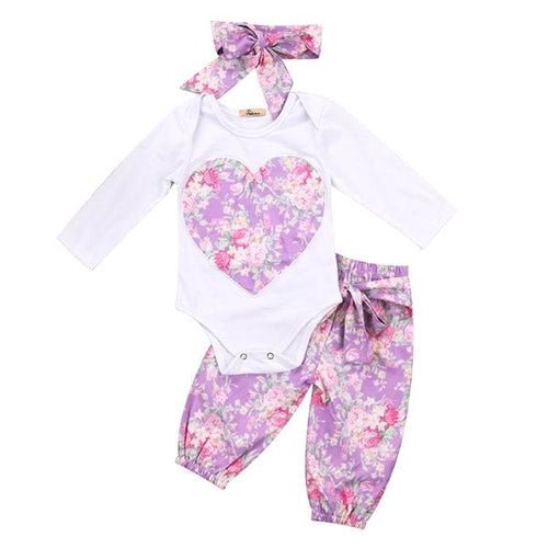 Sweet Floral Heart Outfit 3Pcs