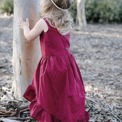 Wine Red Sleeveless Dress