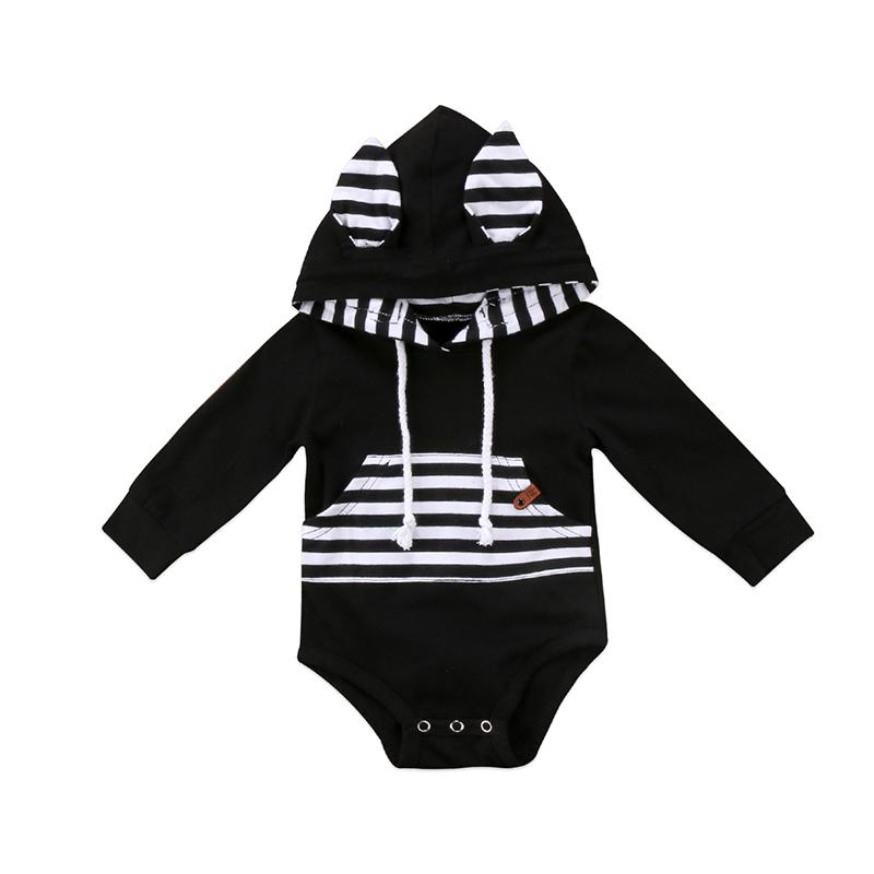 Cute Striped Bunny Ears Romper