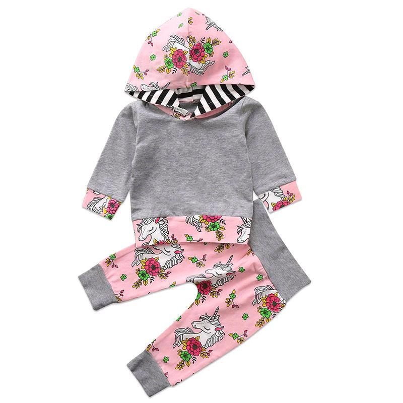 Colorful Floral Unicorn Hooded Set
