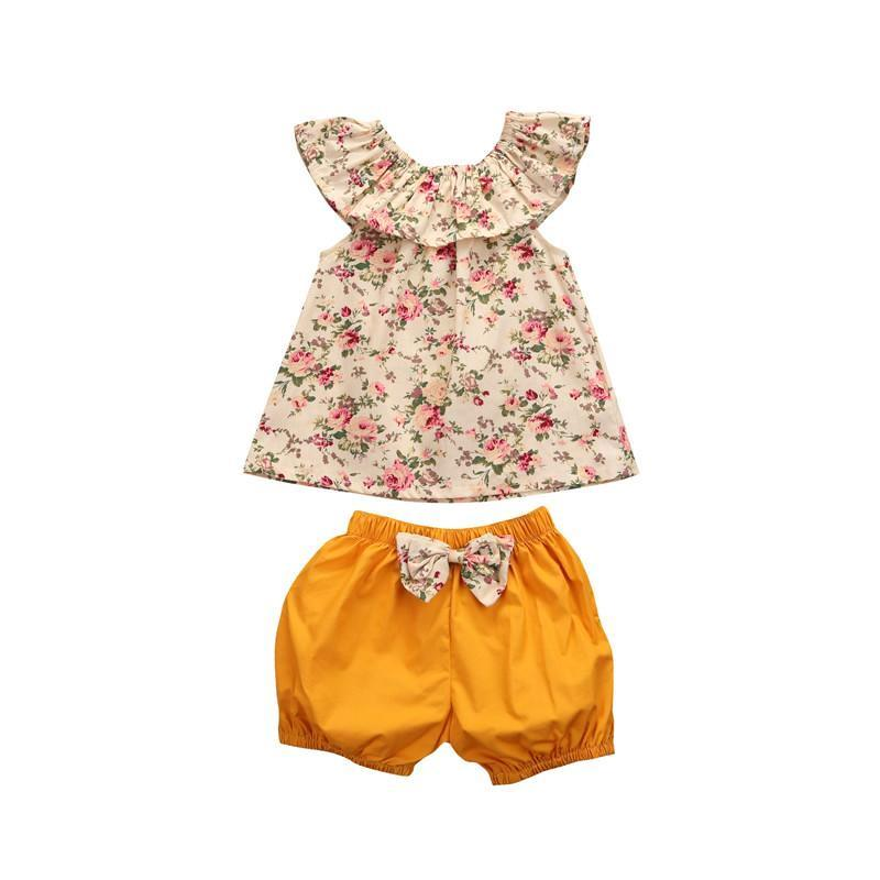 Cute Floral Top & Yellow Bowknot Shorts