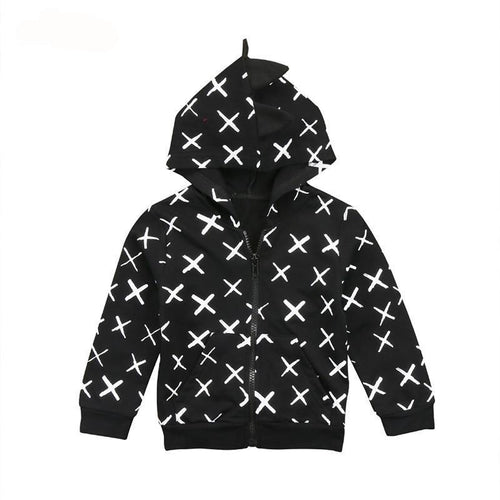 Black & White Hooded Dinosaur Coat