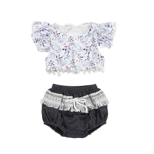 Delicate Floral Top & Lace Bloomers