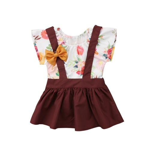 Sweet Floral T-Shirt + Overall Bow Dress