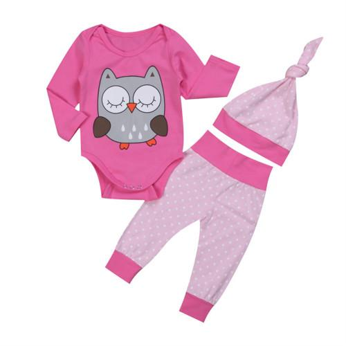 Sleepy Owl Clothing Set 3Pcs