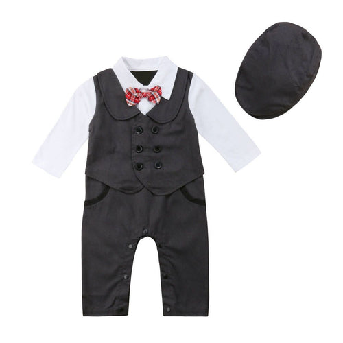 Adorable Little Gentleman Jumpsuit + Hat