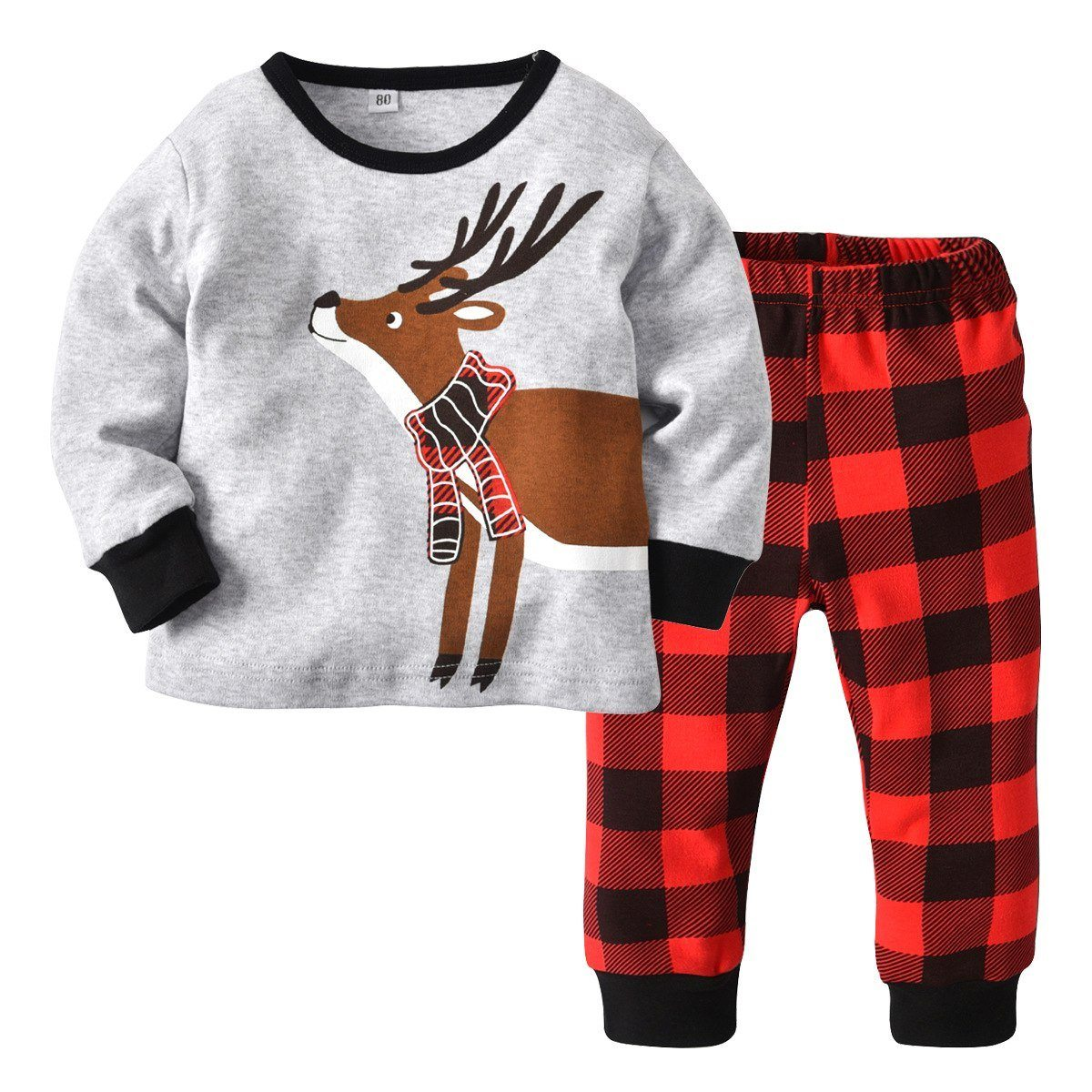 Santa's Reindeer Plaid Set