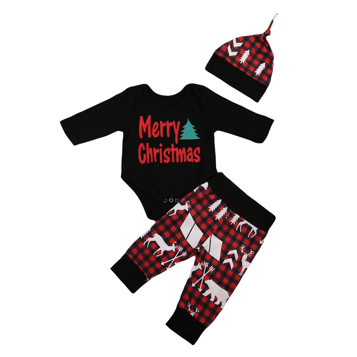 Merry Christmas Clothing Set 3Pcs