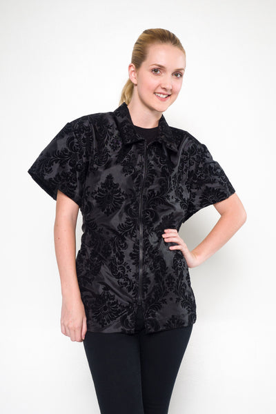 Chloe Grooming Jacket - Damask Flocked Black, Angels Grooming Apparel, Angels Grooming Apparel - Love Groomers