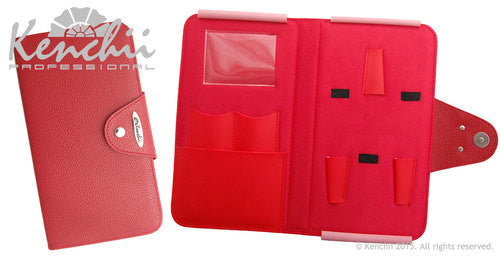 Kenchii Red Faux Leather 5-scissor Snap Case, Kenchii Cases - Love Groomers
