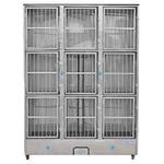Groomer's Best 9 Unit Cage Bank Stainless Steel, Preassembled Cage Bank Units, Groomer's Best - Love Groomers