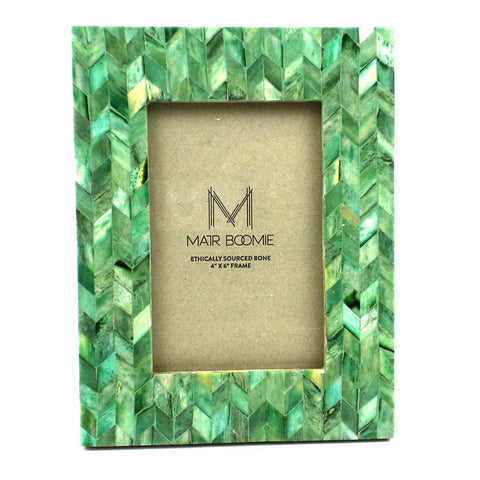 Chevron Bone and Wood Frame - Emerald - Matr Boomie (P)