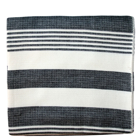 Charcoal Stripes Cotton Beach Throw - Sustainable Threads (L)